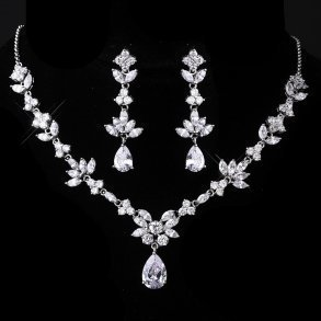Pear Shaped Cubic Zirconia Necklace Set