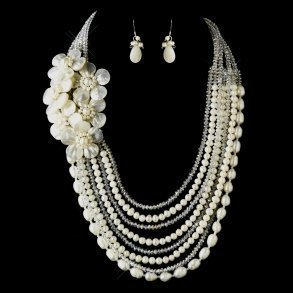 Ivory Pearl & Austrian Crystal Flower Necklace Set