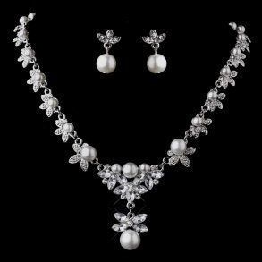 Floral Silver & White Pearl Necklace Set