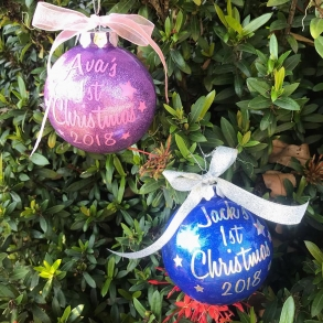 Personalised Baby's First Christmas Baubles Handmade