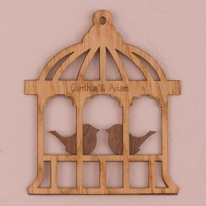 Personalised Birdcage Wood Veneer Sign