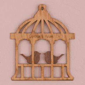 Personalised Birdcage Wood Veneer Sign