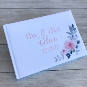 Personalised Blush Pink Floral Wedding Guest Book