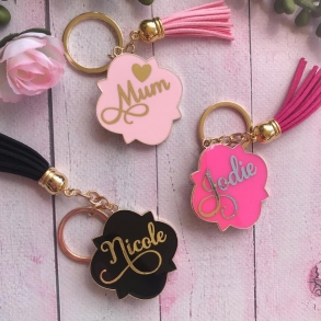Personalised Enamel Keyrings With Metallic Foil
