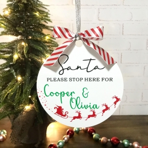 Personalised Santa Please Stop Here Hanging Plaque