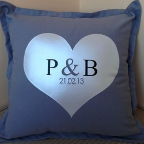 Personalised Heart Initial Wedding Cushions