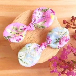 Pink & Blue Floral Baby Bow Headbands