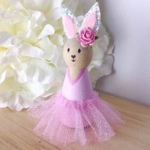 Pink Ballerina Bunny Peg Doll - Kids Decor