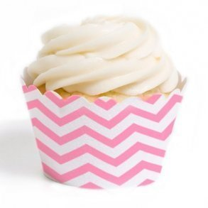 Pink Chevron Cupcake Wrappers - Pack of 12