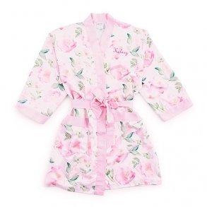 Pink Floral Watercolour Silky Kimono Robe