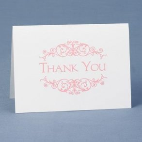 Pink Flourish Thank You Cards