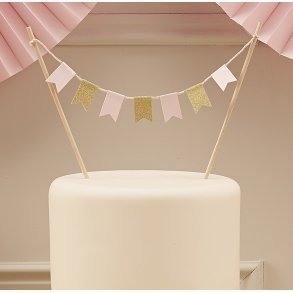 Pale Pink & Gold Sparkle Cake Bunting