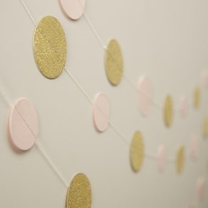 Pale Pink & Gold Sparkle Circle Garland