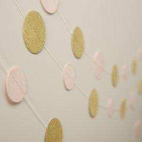 Pale Pink & Gold Sparkle Circle Garland