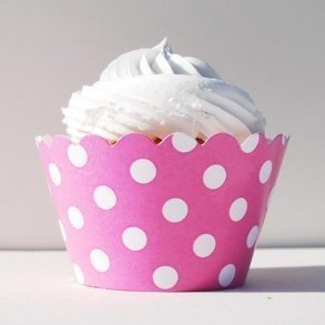 Pink Polka Dots Cupcake Wrappers - Pack of 12