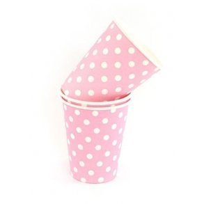 Pink Polkadot Party Cups - Pack of 12