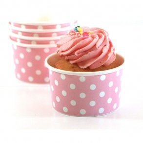 Pink Polkadot Ice-cream Cups - Pack of 12