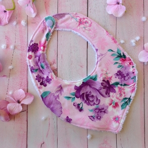 Pink & Purple Floral Fabric Baby Girls Bib