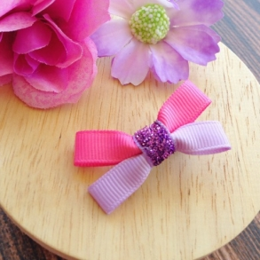 Mini Pink & Purple Butterfly Ribbon Hair Clip