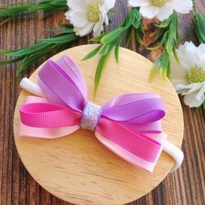 Pink & Purple Ombre Ribbon Loop Girls Headband
