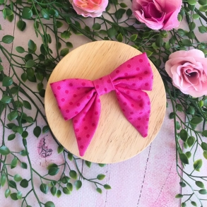 Pink Raspberry Spot Bow Hair Clip or Headband