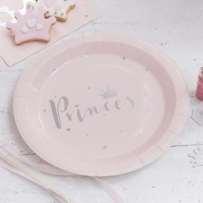 Pink & Silver Foil Princess Paper Party Plates
