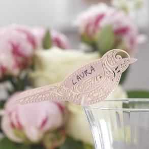 Pink Vintage Lace Bird Place Cards