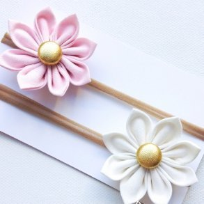 Pastel Pink & White Flower Blossom Stretchy Headbands