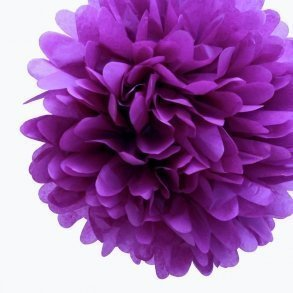 Plum Mini Tissue Paper Pom Poms - Pack of 8