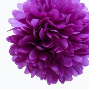 Plum Tissue Pom Poms - Pack of 4