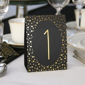 Gold Foil Polka Dot Table Number Tents