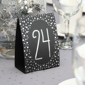 Silver Foil Polka Dot Table Number Tents