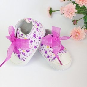 Purple Floral Baby Girl Pre-Walker Shoes