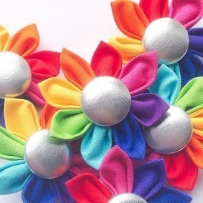 Bright Rainbow Fairy Flower Hair Clip