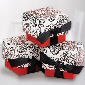 Red Filigree Favour Boxes