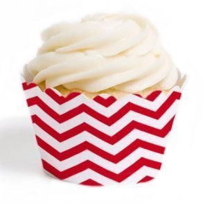 Red Chevron Cupcake Wrappers - Pack of 12