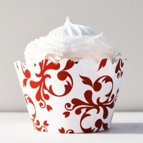 Red Filigree Cupcake Wrappers - Pack of 12