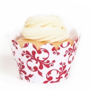 Red Filigree Mini Cupcake Wrappers - Pack of 18