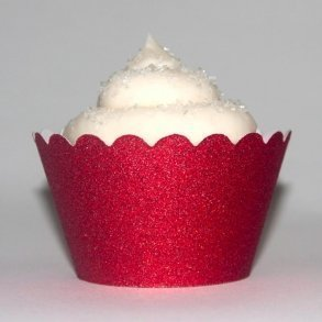 Red Glitter Cupcake Wrappers - Pack of 12