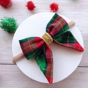 Red & Green Christmas Tartan Girl's Hair Bow