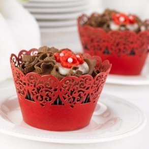 Red Hearts Cupcake Wrappers - Pack of 25