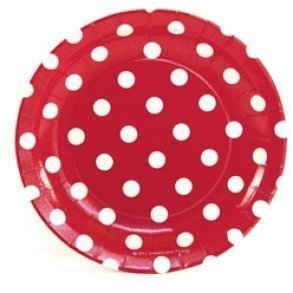 Red Polkadot Cake Plates - Pack of 12