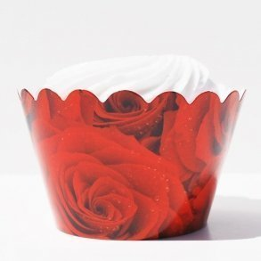 Red Roses Cupcake Wrappers - Pack of 12