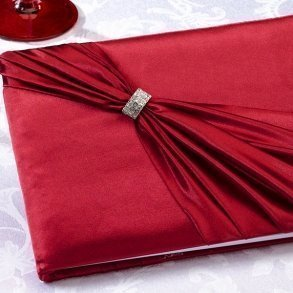 Diamond Red Wedding Guest Book
