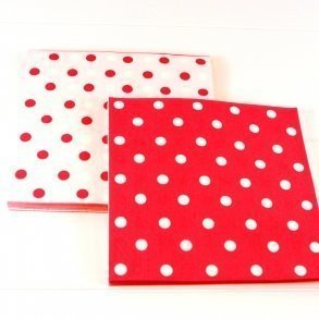 Reversible Red Polkadot Napkins - Pack of 12