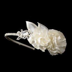 Rhinestone & Flower Accented Side Bridal Headband