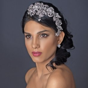 Rhinestone Rose Side Accented Bridal Comb