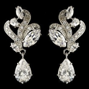 Rhodium Clear Marquise & Teardrop CZ Crystal Earrings