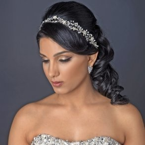Rhodium Clear Rhinestone Vine Ribbon Headband