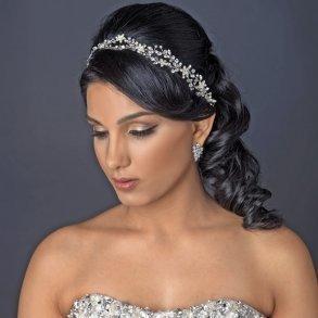 Rhodium Clear Rhinestone Vine Ribbon Headband